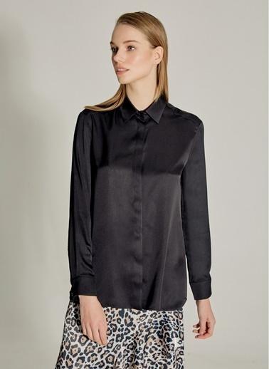 NGSTYLE PREMIUM - İpekli Saten Gömlek Siyah